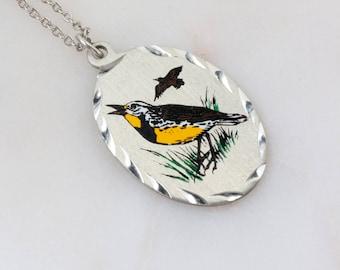 Silver Bird Necklace - Bird Pendant - Brown Bird Pendant - Bird Jewelry