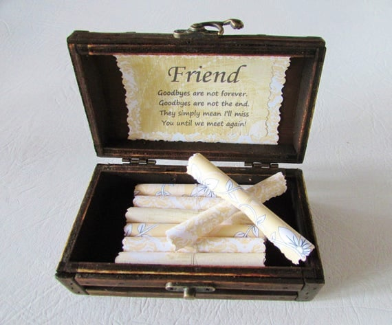 Friend Going Away, Friend Moving, Friend Gift, Friend Christmas Gift, Friend Birthday Gift, Friendship Scroll Box, Friend Quotes in Wood Box