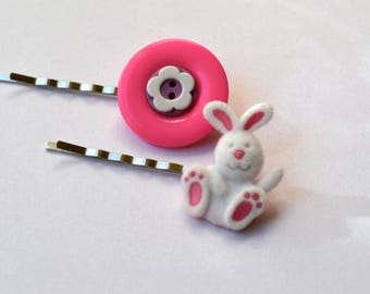Bobby Pins, Hair Accessories For Girls, Buttons Handmade Hair Bobby Pins Under 15, Bunny, Rabbit, Flowers, White and Pink Bobby Pins, Easter