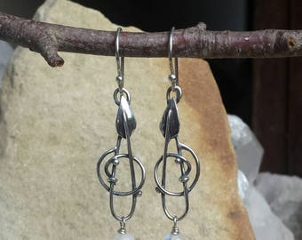 Sterling Silver Intertwined Leaf earrings