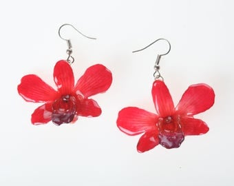 REAL Full Flower Dendrobium Orchid Earrings.FREE Shipping for the Holidays!