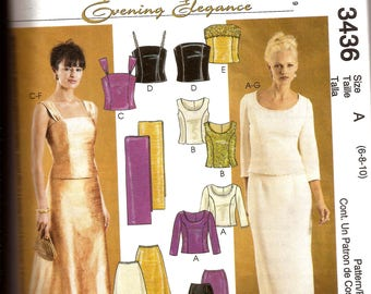 Misses Elegant Evening or Prom Dress / Fitted sleeveless or 3 Quarter Sleeve Top and Skirt / McCall's 3436 / Size 6 8 10