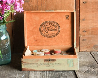 Vintage Wood Box with Spools of Thread  Sewing Box  Wooden Cigar Box   WeddingWedding card box with lock   Etsy. Locking Wedding Card Box. Home Design Ideas