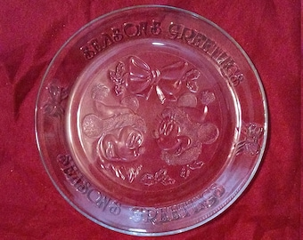 Mickey and Minnie Mouse Season's Greetings Glass Serving Platter
