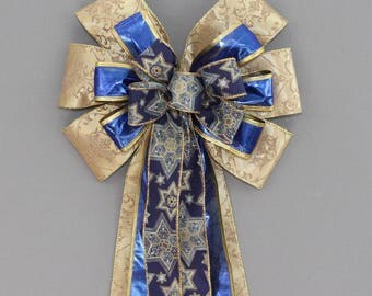 Gold Blue Star of David Hanukkah Bow - Hanukkah Decorations,  Chanukah Bow, Hanukkah Wreath Bow