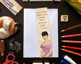 Audrey Hepburn bookmark, laminated bookmark, cartoon style, bookmark with quotes about reading, gloss-coated paper, high quality print