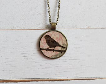 Bird on a Branch Necklace - Bird Silhouette Pendant - Fabric Necklace - Wood Pendant Necklace - Laser Engraved Necklace - Laser Engraved