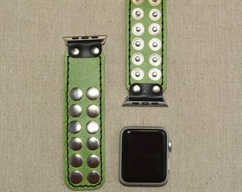 Green Apple Watch Band Leather 38mm - 42mm Apple Watch Strap Leather - Leather Apple Watch Accessories - Lugs Adapter - iWatch Band Women