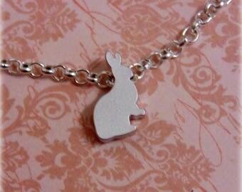 Tiny Rabbit Anklet - Silver Plated, Extendible - Minimalist Jewellery