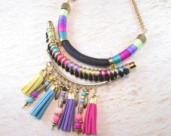 Tassel necklace, Thread necklace,Statement necklace, Ethnic necklace, Aztec necklace,Fabric necklace, Tribal necklace, Handmade