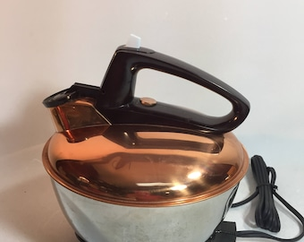 Vintage General Electric Electric Whistling Copper Top and Stainless Tea Kettle with Bakelite Handle and Base