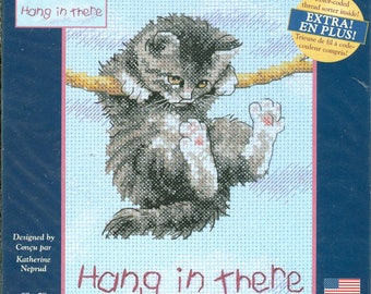 """2003 Kitty Hang In There NIP DIY Counted Cross Stitch Kit by Designer Katherine Neprud 5"""" x 7"""" - Dimensions Creative Accents Kit 79003"""