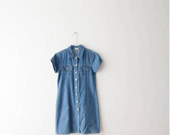 Vintage Mini Denim Dress Extra Small Dress Short Sleeved Dress Button Up Dress Light Blue Dress Jeans Shirt Dress Extra Small Size D