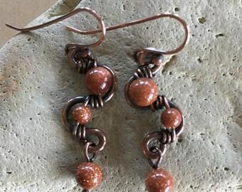 Goldstone weave earrings - Copper - Wire Wrapped - Handmade - Beaded - Artisan Jewelry