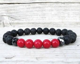 Black Lava Stone, Hematite and Red Coral Bracelet, Men's Beaded Bracelet, Meditation Bracelet, Mala Yoga Bracelet, Energy Bracelet