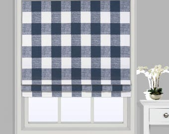 Navy Plaid Curtains Etsy