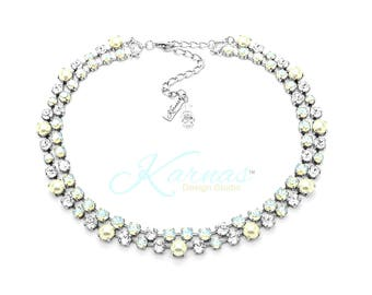 SHEER FANTASY 4/6/8mm 2 Row Statement Necklace Made With Swarovski Crystal *Antique Silver Finish *Karnas Design Studio™ *Free Shipping