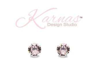 ANTIQUE PINK 8mm Xirius Cut Crystal Stud/Drop Earrings Made With Swarovski *Choose Your Finish *Karnas Design Studio™ *Free Shipping*