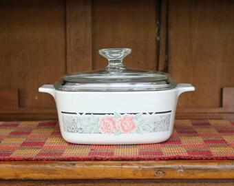 1-1/2 Liter/Quart ~ Silk and Roses ~ Corningware ~ Saucepan/Casserole with Pyrex Lid ~ A-1-1/2