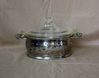 Pyrex Round Casserole & Lid With Carrier/Holder ~ 1 Quart ~ 1920s-30s ~ Clear Glass ~ Etched/Cut Lid ~ Covered Casserole ~ Serving Ware
