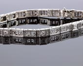 Platinum and 14K gold Diamond Hinged Bracelet
