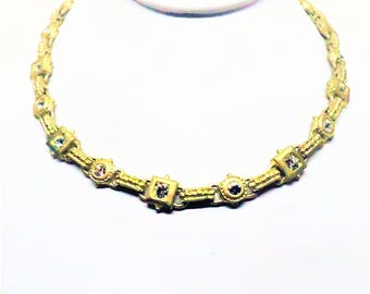 Rhinestone Necklace - Vintage, Gold Tone, Clear Rhinestones, Fold Over Clasp