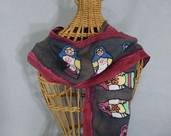 "Silk Scarf (Small) ""Russian Dolls"", Hand Painted Silk Scarf"