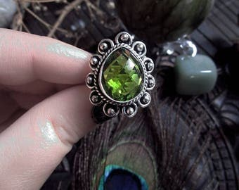Green Amethyst Ring, Prasiolite Ring, Silver Plated Ring, Vintage Style Ring, Faceted Crystal Ring, Size 17mm