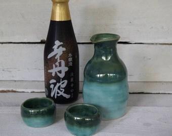 Sake Set | Pottery Sake Set | Pottered and Pieced | Handmade Sake Set | Sake Set for 2