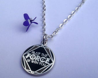 May The Force Be With You Silver Necklace Pendant or Mirror Dangler