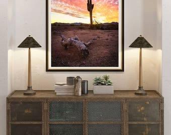 Fine Art Landscape Photography Print, Desert Sunset, Arizona Landscape, Saguaro Cactus, Desert Scene, Southwestern Wall art, landscape photo