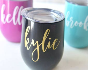 Swig Wine Tumbler Bridesmaid Gift - Bachelorette Gift - Stainless Steel Tumbler - Custom Personalized Monogrammed Tumbler With Lid