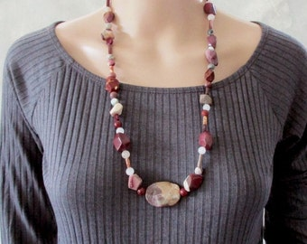 Long Handmade Gemstone Necklace, Earthy Necklace, Semi Precious Stones, Earthy Colours, Stone Jewellery, Boho, Unique Design, Gift for Wife