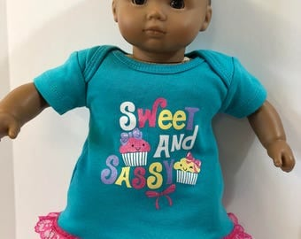 "15 inch Bitty Baby Clothes, Super Cute SPARKLING CUPCAKES ""Sweet and Sassy"" Dress, 15 inch AG Doll Bitty Baby or Twin Doll, Let's Celebrate!"