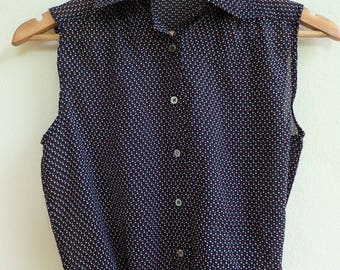 black top /  sheer sleeveless blouse / polka dot button up top / japanese vintage top
