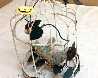Vintage metal birdcage wind chime with resin bluejays