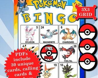 POKÉMON with Numbers 3x3 Bingo printable PDFs contain everything you need to play Bingo.