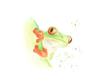 jungle print, animal watercolour, jungle nursery art, jungle theme, animal art, tropical print, tree frog, frog gifts, zoo animal nursery,