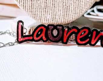 CUSTOM word/name necklace. Whimsical statement necklace.