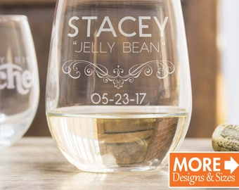 Personalized Wine Glass Anniversary Gift For Him Stemless Custom