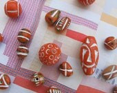 Orange Colored Clay Beads Exotic Ceramic Beads Ethnic Boho Carved Beads White Etched Guru Bead Pendants Exotic Unique Colorful Tribal Beads