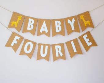 Personalised baby birthday bunting, Baby shower decor, Giraffe nursery decoration, Gift
