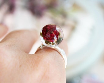 Red rose ring Red resin ring Globe ring Real flower resin Botanical ring Promise jewelry Nature Sterling silver ring Terrarium lovers ring