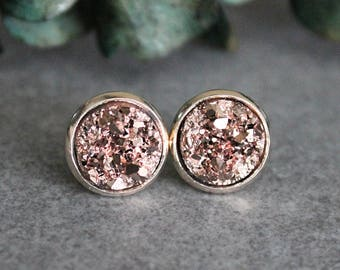 Rose Gold Earrings, Rose Gold Druzy Earrings, Rose Gold Stud Earrings, Rose Gold Bridesmaid Earrings, Gold Stud Earrings, Rosegold Earrings
