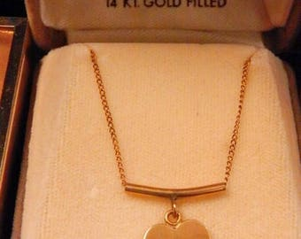 Vintage Winard 14k gold filled heart necklace new and unused in original box.