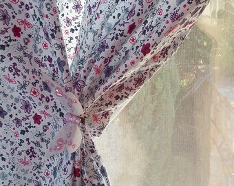 Floral Curtains - Printed Curtains - Country Curtains - Floral Drapes - Curtains - Drapes - Pastel Curtains - Flower Drapes - Set of 2