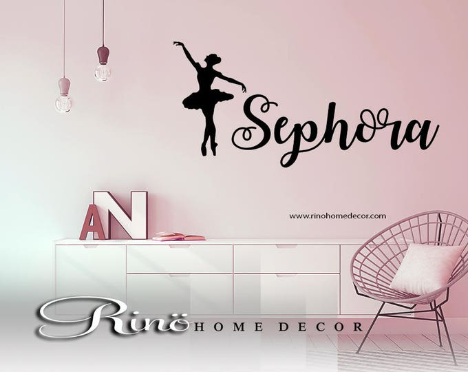 Ballet wall decal - Ballerina Wall art Decal Custom Name Vinyl ballerina sticker home decor girls personalized name bedroom silhouette dance