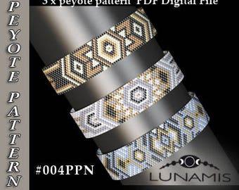 peyote bracelet pattern, peyote pattern, odd count, stitch pattern, pdf file, pdf pattern, #004PPN, lunamis