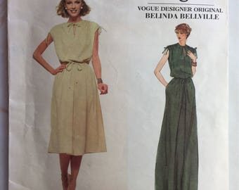Vintage 70's Very Easy Vogue Belinda Bellville 1928 Flared Pullover Dress in Two Lengths Pattern Size 12 cut
