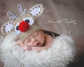 Baby Reindeer hat, newborn Christmas beanie, Baby Christmas hat, Rudolph Beanie, Baby Holiday beanie, Baby  hat, newborn holiday prop,